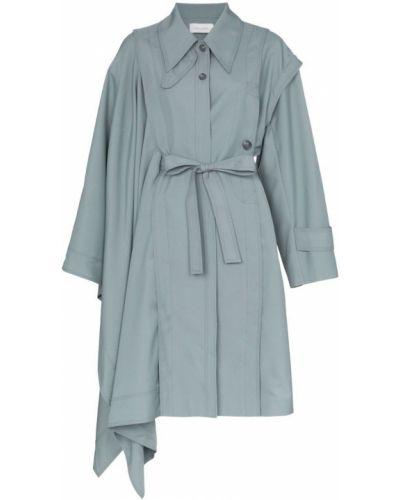 Синее пальто классическое с капюшоном Low Classic