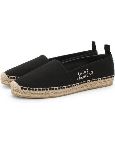 Черные эспадрильи с вышивкой Saint Laurent