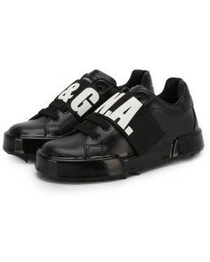 Черные кожаные кроссовки с подкладкой Dolce & Gabbana