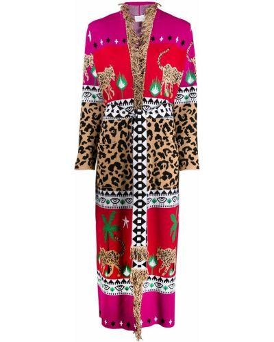 Прямое коралловое длинное пальто с поясом с бахромой Hayley Menzies