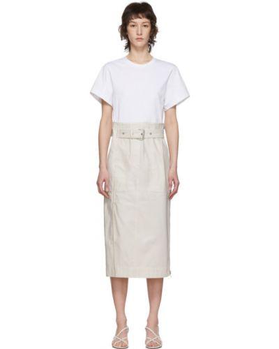 С рукавами белое платье-рубашка с поясом с воротником 3.1 Phillip Lim