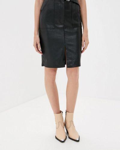 Кожаная юбка черная Softy