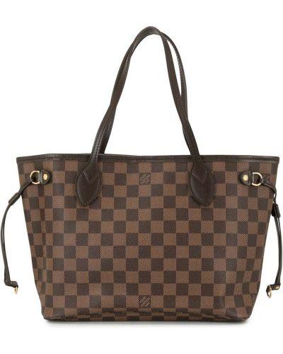 Коричневая кожаная сумка-тоут на крючках Louis Vuitton