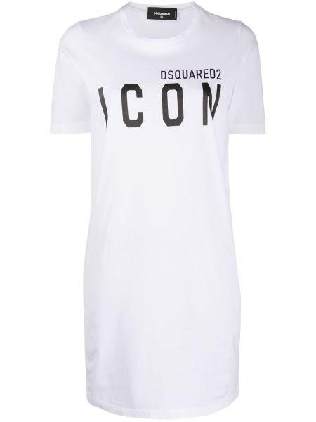 Трикотажное белое платье мини с вырезом Dsquared2