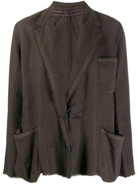 Коричневый удлиненный пиджак с карманами с воротником Lanvin Pre-owned