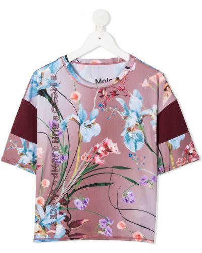 Розовая футболка круглая с круглым вырезом с короткими рукавами Molo