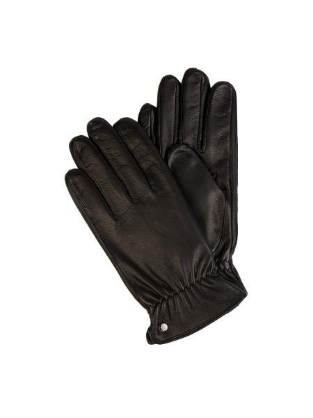 Skórzany czarny rękawiczki prążkowany Roeckl