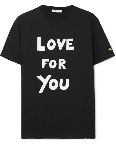 Хлопковая черная футболка с вышивкой Bella Freud