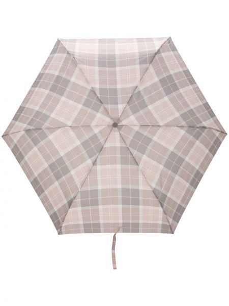 Różowy parasol srebrny z printem Barbour