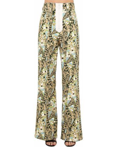 Синие с завышенной талией брюки с карманами Miu Miu