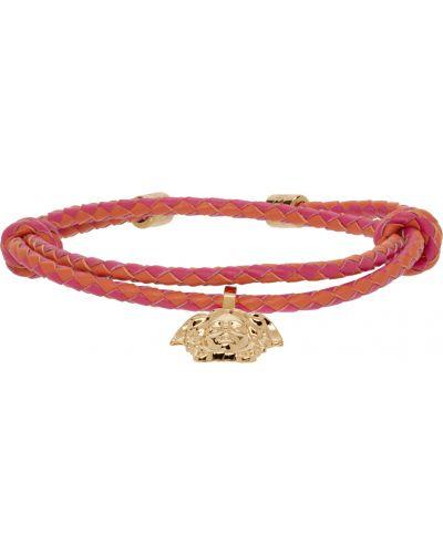Кожаный браслет - розовый Versace
