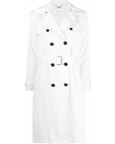 Biały długi płaszcz bawełniany z długimi rękawami Calvin Klein