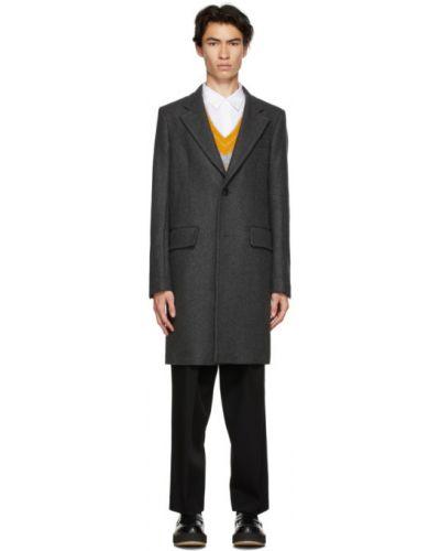 Wełniany długi płaszcz z kołnierzem z kieszeniami na przyciskach Ami Alexandre Mattiussi