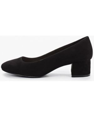 Туфли на каблуке черные кожаные Pier One