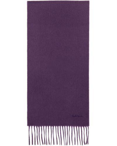 Fioletowy z kaszmiru szalik z haftem Paul Smith