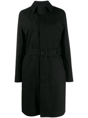 Шерстяное черное пальто классическое с капюшоном Saint Laurent