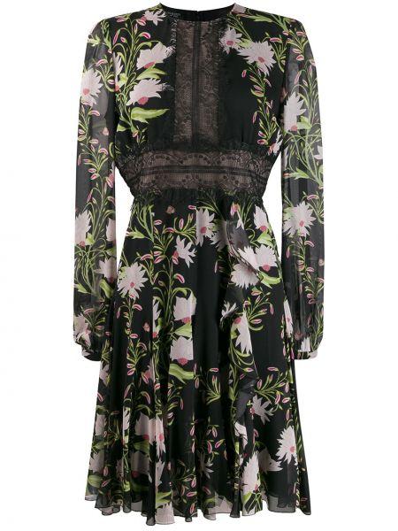 Черное платье с вышивкой с вырезом Giambattista Valli