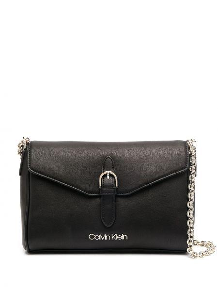 Czarny łańcuszek srebrny klamry Calvin Klein