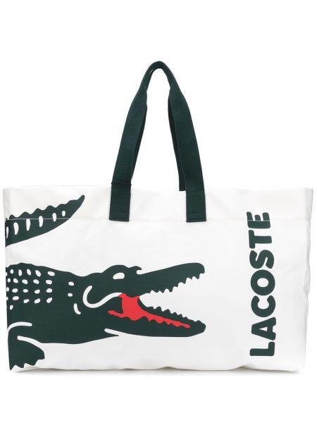 Хлопковая белая сумка-тоут на молнии с карманами Lacoste