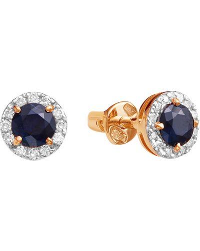 Золотые серьги с бриллиантом c сапфиром Vesna Jewelry