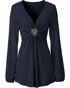 Блузка с длинным рукавом с брошью с рукавом фонарик Bonprix