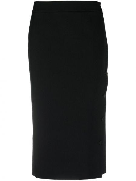 Czarna spódnica ołówkowa asymetryczna wełniana Balenciaga
