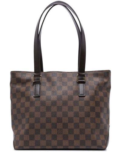 Коричневая кожаная сумка на плечо винтажная Louis Vuitton