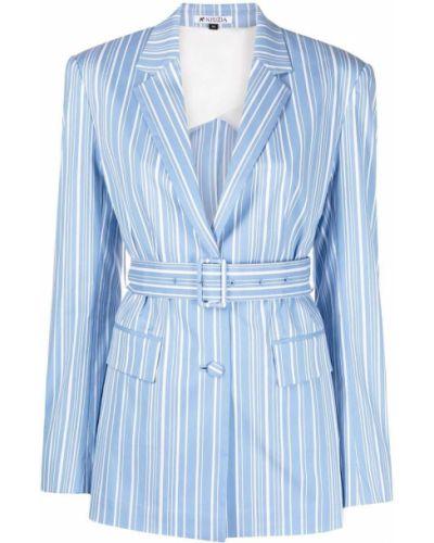 Прямой синий удлиненный пиджак с воротником Krizia