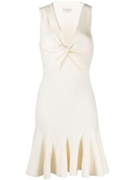 Шерстяное вязаное белое платье Alexander Mcqueen