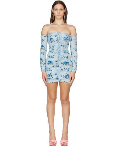 Платье макси с длинными рукавами - синее Blumarine