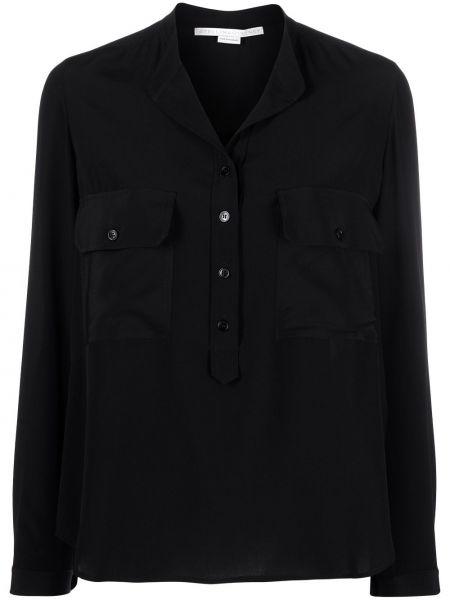 Шелковая с рукавами черная классическая рубашка Stella Mccartney