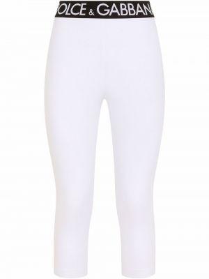 Белые хлопковые леггинсы Dolce & Gabbana