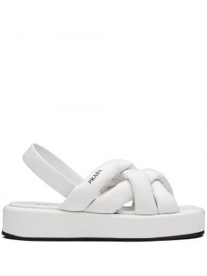 Czarne sandały skorzane peep toe Prada