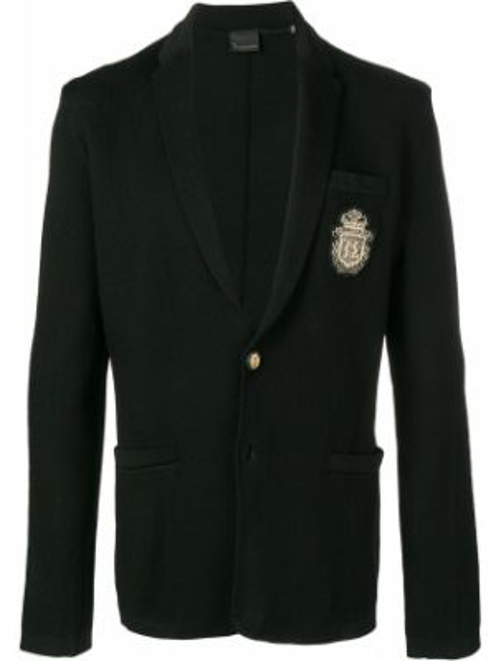 Черный удлиненный пиджак с карманами с нашивками Billionaire