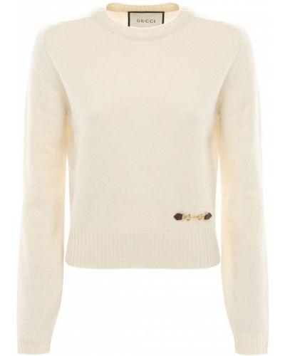 Белый кашемировый свитер Gucci