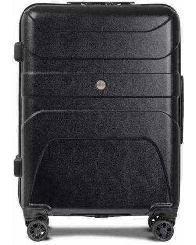Czarna walizka materiałowa z paskiem Reize