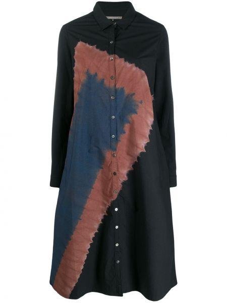 Черное классическое платье макси с воротником с длинными рукавами Suzusan