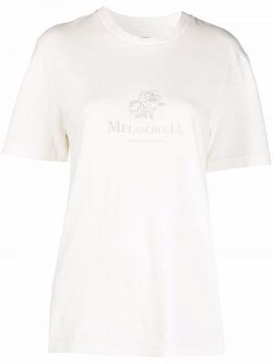 Biała T-shirt z nadrukiem z printem Han Kjobenhavn