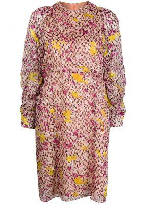 Шелковое с рукавами розовое платье миди Lala Berlin
