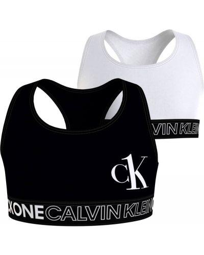 Czarny bralet z printem Calvin Klein