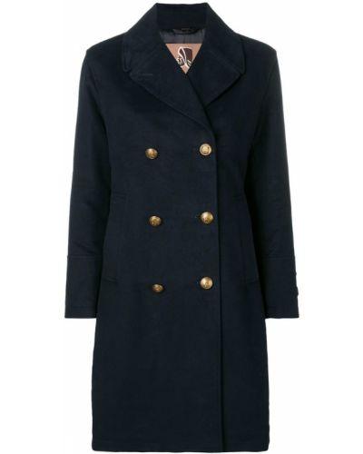 Синее длинное пальто с капюшоном на пуговицах Sealup