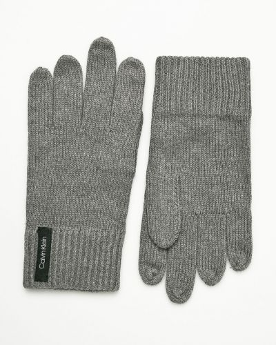 Rękawiczki wełniany szary Calvin Klein