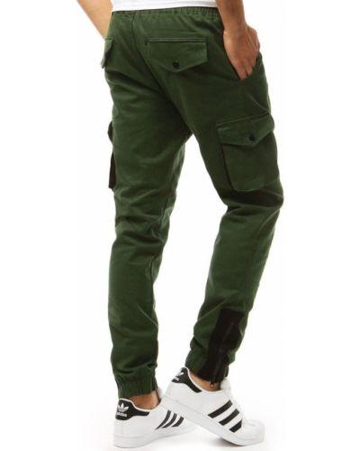 Zielone joggery materiałowe na co dzień Dstreet