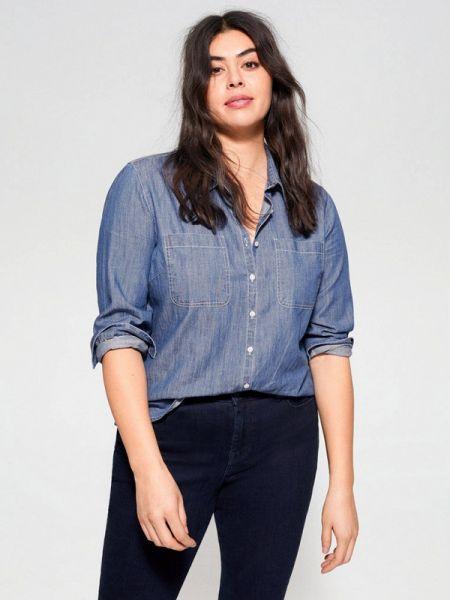 Джинсовая рубашка фиолетовый синяя Violeta By Mango