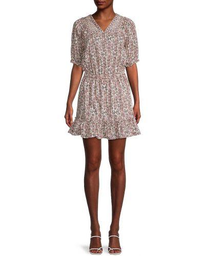 Коричневое платье мини с вышивкой с V-образным вырезом Nicole Miller