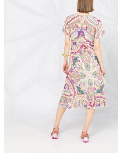 Шелковое платье А-силуэта круглое с круглым вырезом Etro