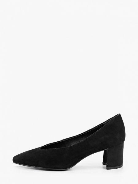 Замшевые туфли черные закрытые Marco Tozzi