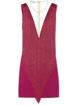 Асимметричное фиолетовое коктейльное платье с бахромой Stella Mccartney