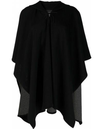 Шерстяной черный кейп с капюшоном Majestic Filatures