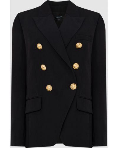 Черный пиджак двубортный Balmain